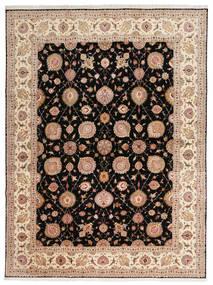 Tabriz 50 Raj Med Silke Teppe 302X405 Ekte Orientalsk Håndknyttet Svart/Lysbrun Stort (Ull/Silke, Persia/Iran)