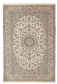 Nain 6La Habibian Teppich  205X312 Echter Orientalischer Handgeknüpfter Hellgrau/Beige (Wolle/Seide, Persien/Iran)