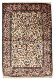 Kashan Soie Tapis 100X153 D'orient Fait Main Marron Clair/Beige (Soie, Perse/Iran)