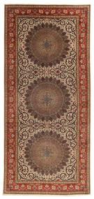 Tabriz 60 Raj Silkerenning Teppe 200X450 Ekte Orientalsk Håndknyttet Teppeløpere Lysbrun/Mørk Rød (Ull/Silke, Persia/Iran)