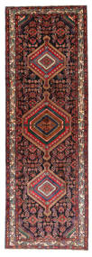 Hamadan Tapijt 110X325 Echt Oosters Handgeknoopt Tapijtloper Donkerrood/Bruin (Wol, Perzië/Iran)