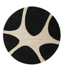 Stones Handtufted - Black Rug Ø 225 Modern Round Black/Light Grey (Wool, India)
