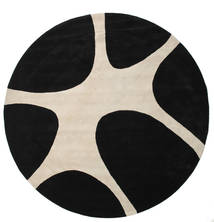 Stones Handtufted - Black Rug Ø 300 Modern Round Black/Light Brown Large (Wool, India)