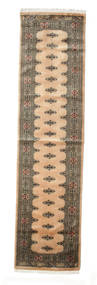 Pakistan Bokhara 3Ply Rug 78X307 Authentic  Oriental Handknotted Hallway Runner  Light Brown/Light Grey (Wool, Pakistan)
