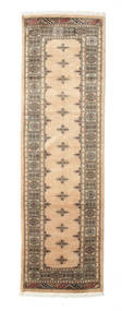 Pakistan Bokhara 3Ply Rug 77X256 Authentic  Oriental Handknotted Hallway Runner  Light Brown/Dark Beige (Wool, Pakistan)