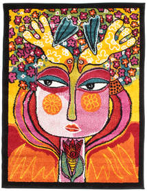 She Has Flowers In Her Hair Tapis 100X130 Moderne Noir/Orange ( Turquie)