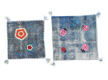 Pudebetræk Vintage Relief Tæppe 60X60 Ægte Orientalsk Håndknyttet Kvadratisk Blå/Lysegrå (Uld, Tyrkiet)