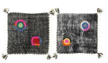 クッションカバー ヴィンテージ Relief 絨毯 45X45 オリエンタル 手織り 正方形 濃いグレー (ウール, トルコ)