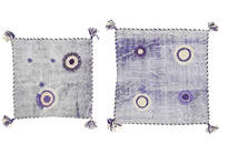 Pillowcase Vintage Relief Rug 60X60 Authentic Oriental Handknotted Square Light Purple/Light Grey (Wool, Turkey)