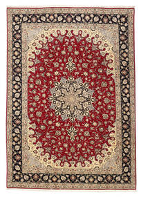 Tabriz 50 Raj Rug 201X299 Authentic  Oriental Handknotted Light Brown/Dark Red (Wool/Silk, Persia/Iran)