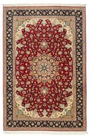 Tabriz 50 Raj Silkerenning Teppe 200X315 Ekte Orientalsk Håndknyttet Mørk Rød/Lysbrun (Ull/Silke, Persia/Iran)