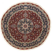タブリーズ 50 Raj 絹の縦糸 絨毯 Ø 295 オリエンタル 手織り ラウンド 深紅色の/薄い灰色 大きな (ウール/絹, ペルシャ/イラン)