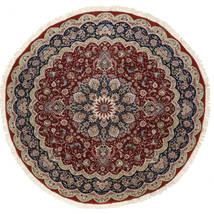 Tabriz 50 Raj Silketrend Tæppe Ø 295 Ægte Orientalsk Håndknyttet Rundt Mørkerød/Lysegrå Stort (Uld/Silke, Persien/Iran)