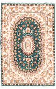 Tabriz 50 Raj Hedvábná Osnova Koberec 103X155 Orientální Ručně Tkaný Béžová/Tyrkysově Modré (Vlna/Hedvábí, Persie/Írán)