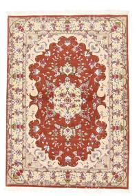 Tabriz 50 Raj Silkkiloimi Matto 102X145 Itämainen Käsinsolmittu Beige/Vaaleanruskea (Villa/Silkki, Persia/Iran)
