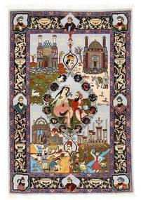 Tabriz 50 Raj zijden pool figuratief / geïllustreerd tapijt ABCN261