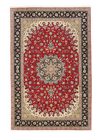 Tabriz 50 Raj Rug 198X307 Authentic  Oriental Handknotted Dark Red/Light Brown (Wool/Silk, Persia/Iran)