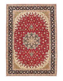 タブリーズ 50 Raj 絹の縦糸 絨毯 200X295 オリエンタル 手織り 薄茶色/赤 (ウール/絹, ペルシャ/イラン)