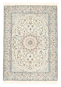 Nain 6La Rug 120X167 Authentic  Oriental Handknotted Beige/Light Grey (Wool/Silk, Persia/Iran)