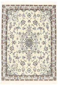 Nain 6La Rug 101X139 Authentic  Oriental Handknotted Beige/Dark Grey (Wool/Silk, Persia/Iran)
