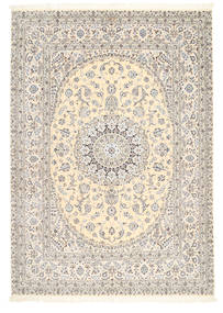 ナイン 6La 署名: Tajeb Mohamadi 絨毯 205X295 オリエンタル 手織り 薄い灰色/ベージュ (ウール/絹, ペルシャ/イラン)