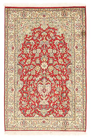 Kashmir Pure Silk Rug 65X98 Authentic Oriental Handknotted Light Pink/Brown (Silk, India)