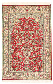 Kashmir Pure Silk Rug 64X97 Authentic  Oriental Handknotted Brown/Light Pink (Silk, India)