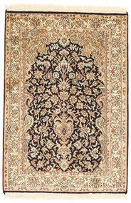 Cachemire Pure Soie Tapis 64X93 D'orient Fait Main Beige/Marron Foncé (Soie, Inde)