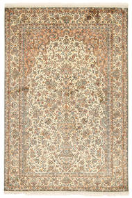 Kashmir Pure Silk Rug 126X189 Authentic  Oriental Handknotted Beige/Light Brown (Silk, India)