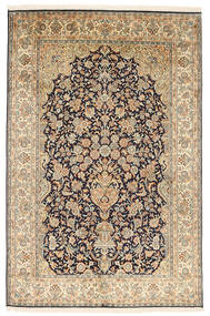 Kashmir Pure Silk Rug 124X190 Authentic  Oriental Handknotted Light Brown/Beige (Silk, India)