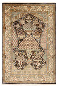 Kashmir Pure Silk Rug 126X191 Authentic  Oriental Handknotted Light Brown/Brown (Silk, India)