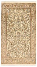 Kashmir Pure Silk Rug 95X164 Authentic Oriental Handknotted Beige/Light Brown (Silk, India)