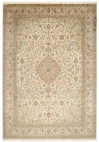 Kashmir Pure Silk Rug 244X347 Authentic  Oriental Handknotted Light Brown/Beige (Silk, India)