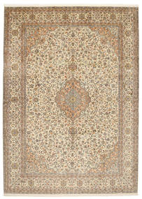 Kashmir 100% Silkki Matto 222X309 Itämainen Käsinsolmittu Vaaleanruskea/Beige (Silkki, Intia)