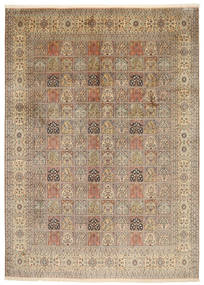 Kashmir Pure Silk Rug 245X344 Authentic  Oriental Handknotted Light Brown/Brown (Silk, India)