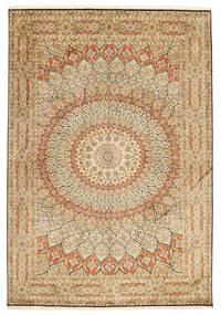 カシミール ピュア シルク 絨毯 189X275 オリエンタル 手織り 薄茶色/暗めのベージュ色の (絹, インド)