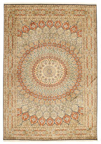 Kashmir Äkta Silke Matta 189X275 Äkta Orientalisk Handknuten Mörkbeige/Beige (Silke, Indien)