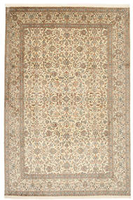 Kashmir Pure Silk Rug 184X276 Authentic Oriental Handknotted Light Brown/Beige (Silk, India)