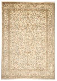 Kaschmir Reine Seide Teppich  246X352 Echter Orientalischer Handgeknüpfter Beige/Dunkel Beige (Seide, Indien)