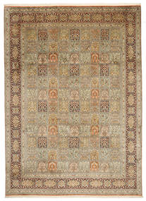 Kashmir Pure Silk Rug 242X339 Authentic  Oriental Handknotted Light Brown/Beige (Silk, India)