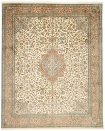 Kashmir Pure Silk Rug 248X312 Authentic  Oriental Handknotted Light Brown/Beige (Silk, India)