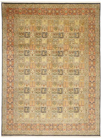 Kashmir Pure Silk Rug 244X343 Authentic  Oriental Handknotted Light Brown/Brown (Silk, India)