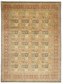 Kashmir 100% Silkki Matto 244X343 Itämainen Käsinsolmittu Vaaleanruskea/Ruskea (Silkki, Intia)