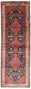 Hamadan Rug 102X305 Authentic  Oriental Handknotted Hallway Runner  Brown/Dark Purple (Wool, Persia/Iran)
