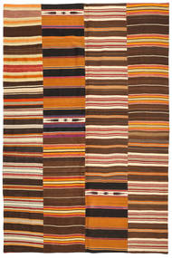 Kilim Patchwork Rug 203X304 Authentic  Modern Handwoven Dark Brown/Orange (Wool, Turkey)