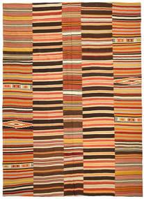 Kilim Patchwork Rug 255X360 Authentic  Modern Handwoven Crimson Red/Dark Brown Large (Wool, Turkey)