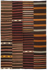 Kelim Patchwork Matta 237X360 Äkta Modern Handvävd Mörkröd/Mörkbrun (Ull, Turkiet)