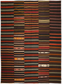 Kilim Patchwork Rug 340X448 Authentic  Modern Handwoven Dark Brown Large (Wool, Turkey)