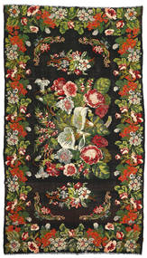 Rose Kelim Rug 214X375 Authentic  Oriental Handwoven Black/Dark Green (Wool, Moldova)