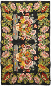 Rose Kelim Rug 227X394 Authentic  Oriental Handwoven Dark Grey/Light Green (Wool, Moldova)